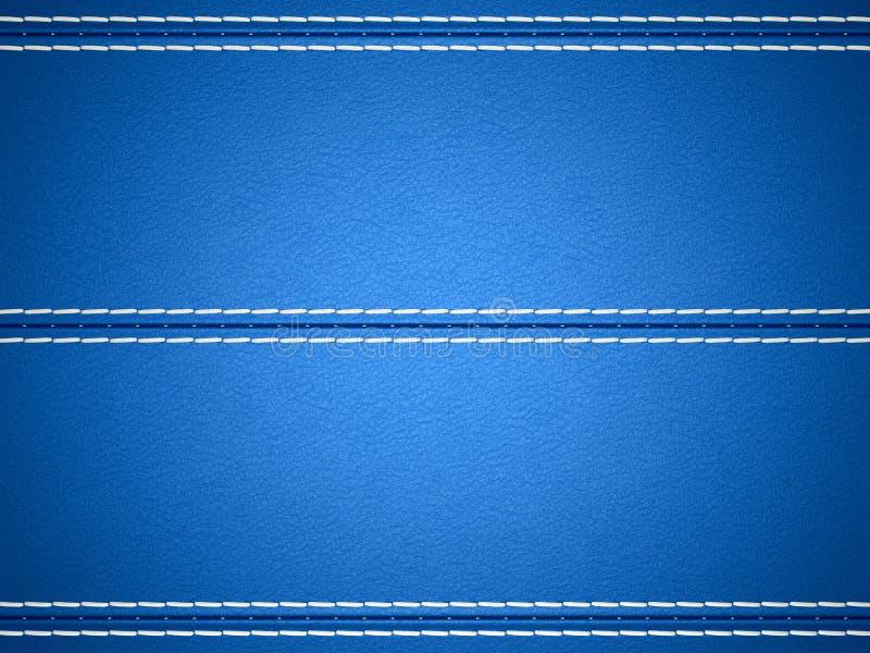 Błękitny horyzontalny zaszyty rzemienny tło ilustracji