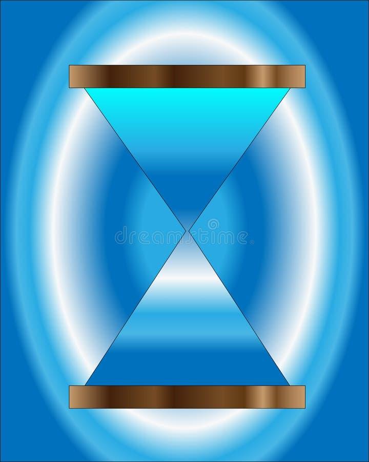 Błękitny hourglass pokazuje przelotnego czas ilustracji