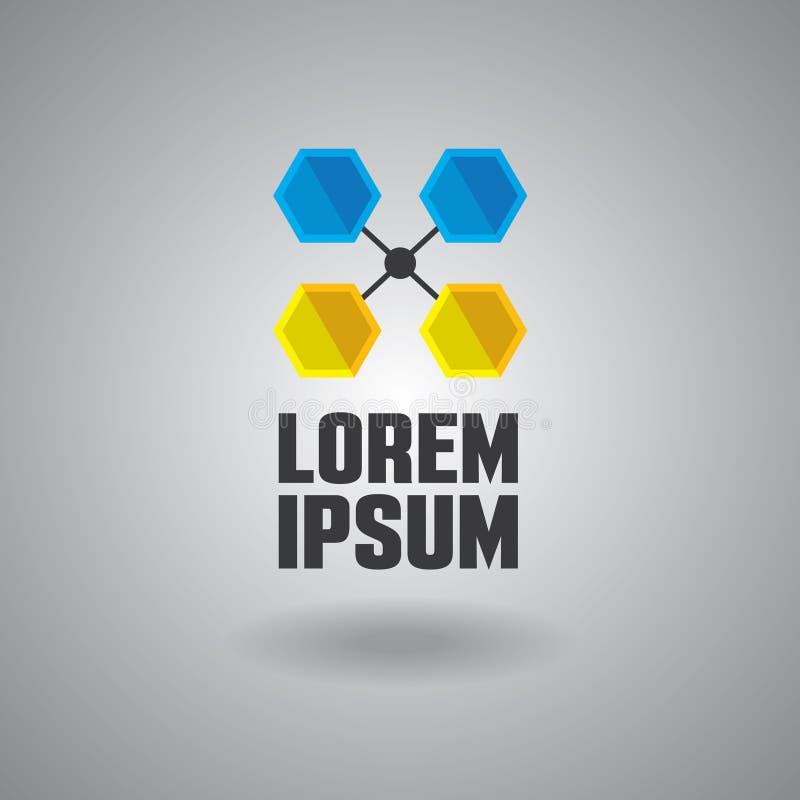 Błękitny i żółty hex kształta techniczny logo royalty ilustracja