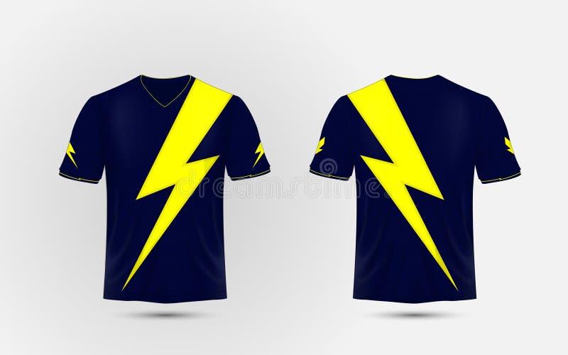 Błękitny i żółty układu sporta koszula projekta szablon Błyskawica, zasilania elektrycznego pojęcia projekt ilustracji