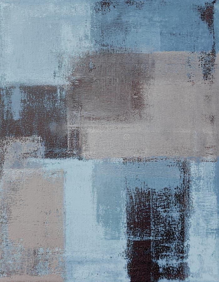 Błękitny i Beżowy Abstrakcjonistycznej sztuki obraz ilustracji