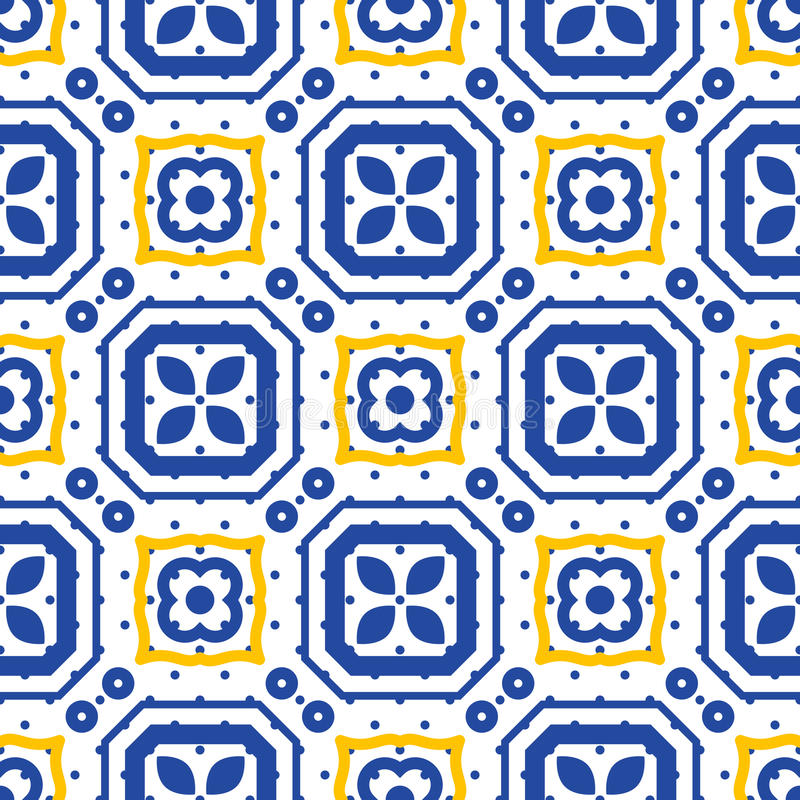 Błękitny i biały śródziemnomorski bezszwowy ceramicznej płytki wzór ilustracja wektor