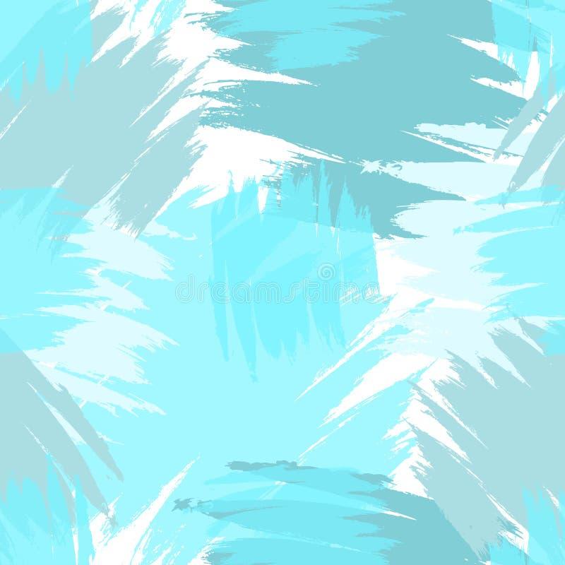 Błękitny i Biały Bezszwowy Grunge uderzenia muśnięcia wzór ilustracji