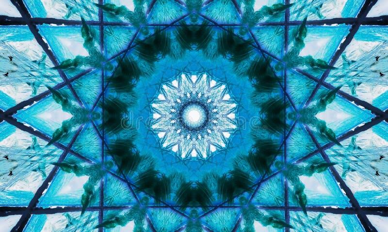 Błękitny i biały gwiazdkowaty mandala ilustracji