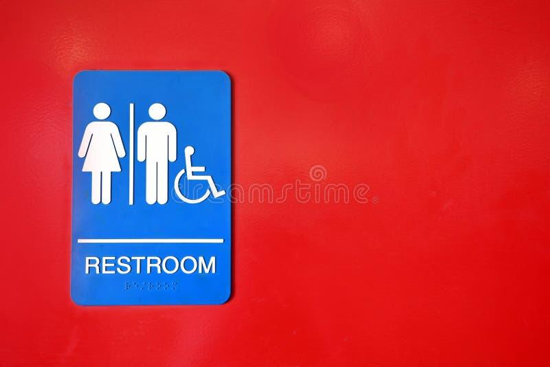 Błękitny i Biały Jawny Washroom znak zdjęcia royalty free