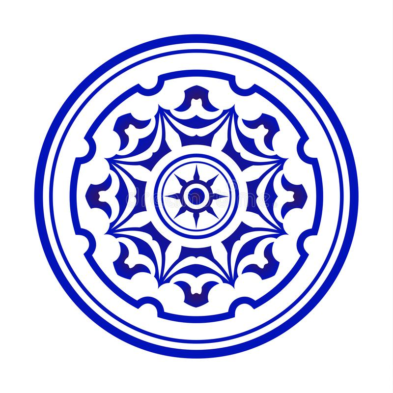 Błękitny i biały mandala royalty ilustracja