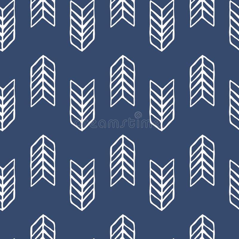 Błękitny i biały wektorowy bezszwowy wzór Scrapbook projekta elementy Abstrakcjonistyczna ręka rysująca tkaniny tekstura Prosty o ilustracji