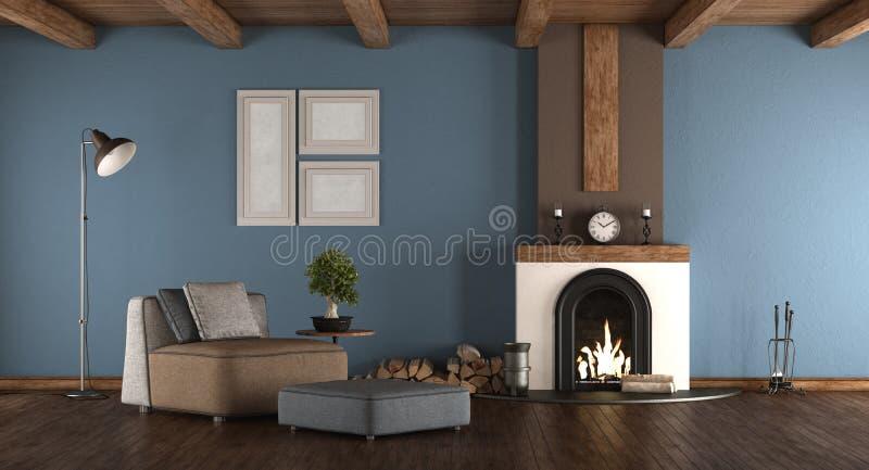 Błękitny i brown pokój z grabą ilustracji