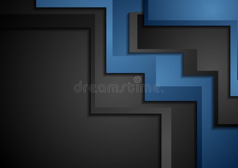Błękitny i czarny abstrakcjonistyczny korporacyjny materialny tło royalty ilustracja