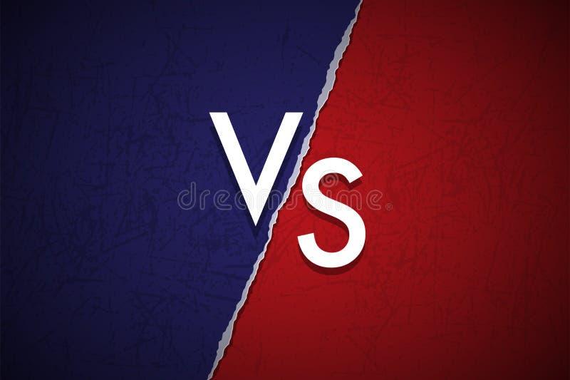 Błękitny i czerwony grunge versus logo Wektor VS ikona ilustracja wektor