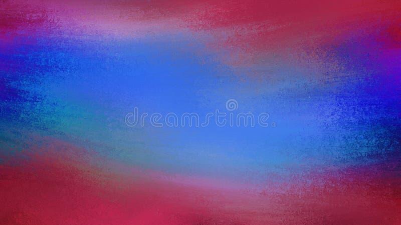 Błękitny i czerwony tło z chłodno grunge teksturą i Abstrakcjonistyczne farb smugi i muśnięć uderzenia pokazuje wietrznego royalty ilustracja