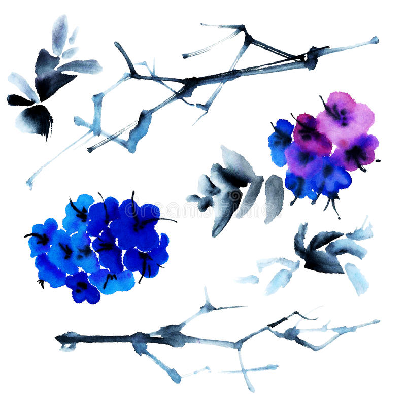 Błękitny i fiołkowi kwiaty ilustracji