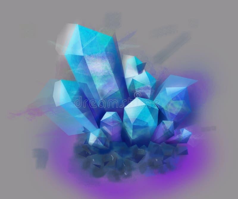 Błękitny i purpurowy kryształu kamień mineralisation ilustracji