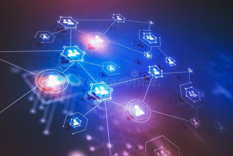 Błękitny i purpurowy ogólnospołeczny sieć interfejs ilustracja wektor