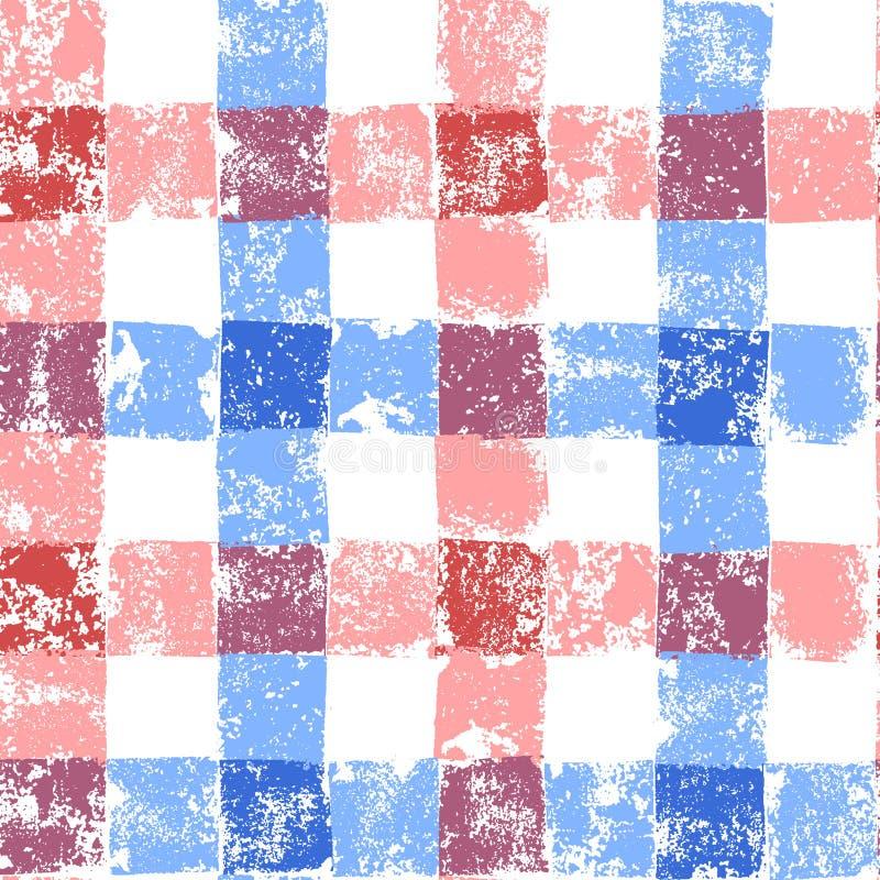 Błękitny i różowy pastel barwił w kratkę grunge gingham bezszwowego wzór, wektor royalty ilustracja