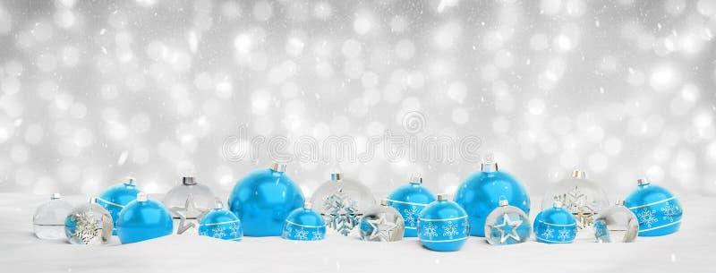 Błękitny i srebny bożych narodzeń baubles tła 3D rendering ilustracji