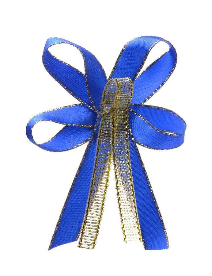 Błękitny i złocisty dekoracyjny tasiemkowy łęk obrazy royalty free