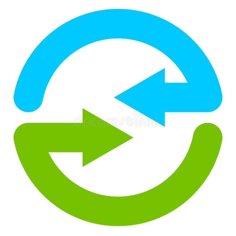 Błękitny i zielony kółkowy strzałkowaty symbol ikona/ ilustracja wektor