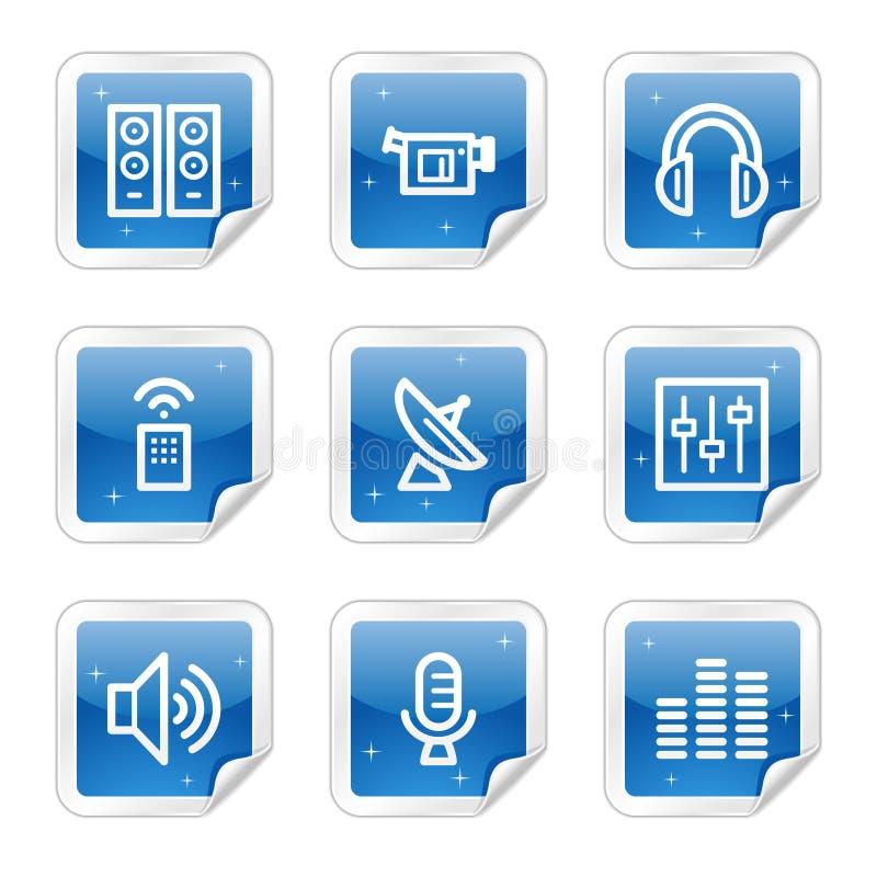 błękitny ikon medialna serii majcheru sieć ilustracja wektor