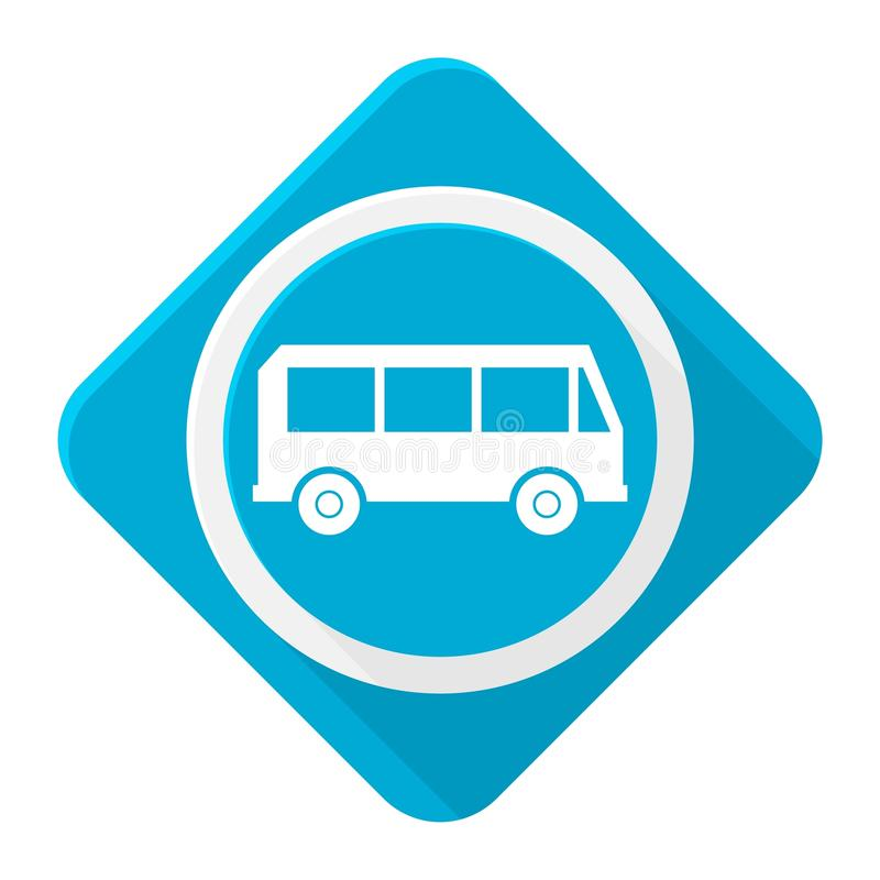 Błękitny ikona autobus z długim cieniem royalty ilustracja