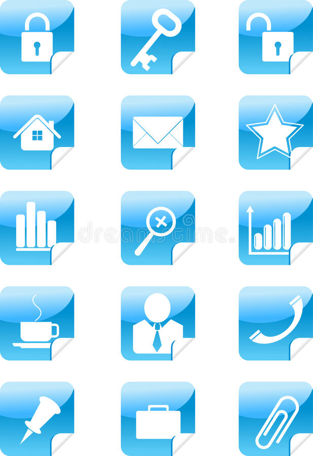 błękitny ikony ustawiają majcher sieć ilustracja wektor