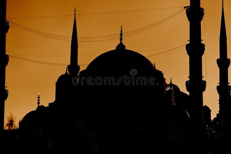 błękitny Istanbul meczetowy sylwetki indyk fotografia stock