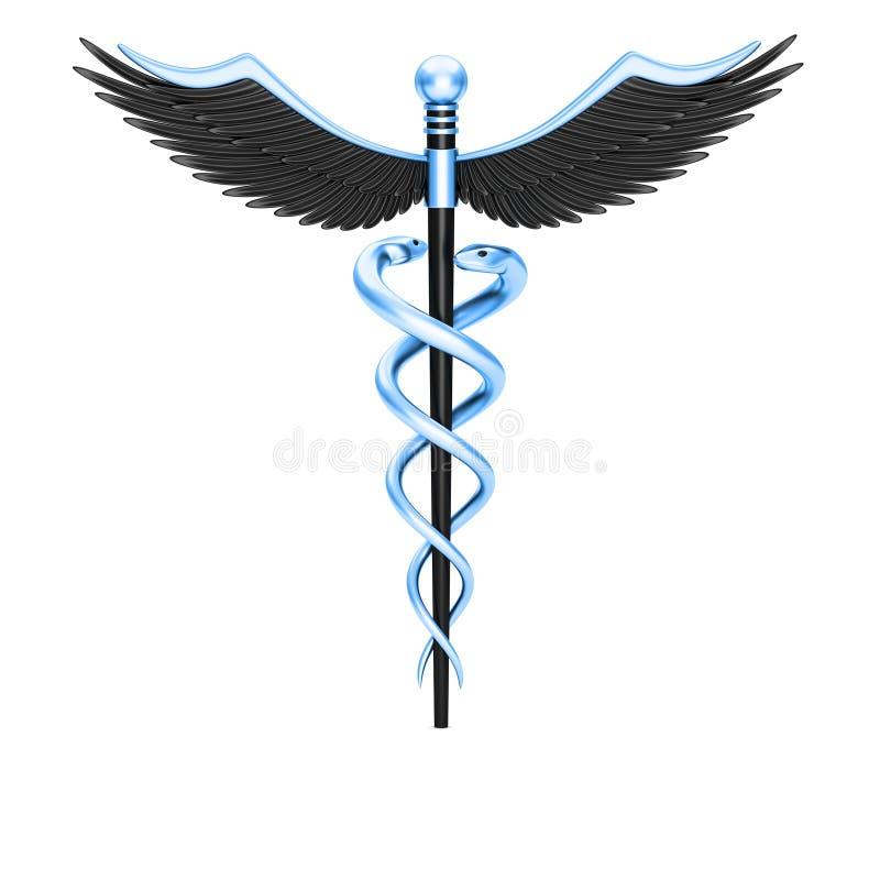 Błękitny kaduceuszu medyczny symbol ilustracji