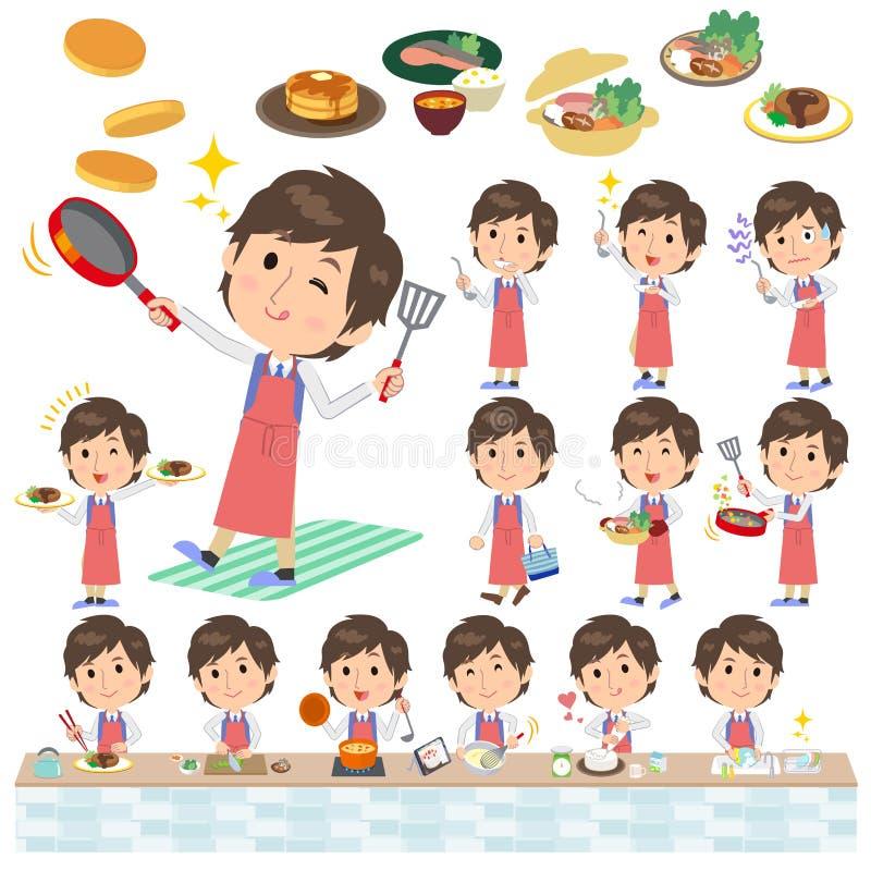 Błękitny kamizelka mężczyzna kucharstwo ilustracji