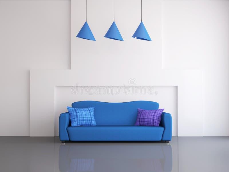 Błękitny kanapa royalty ilustracja
