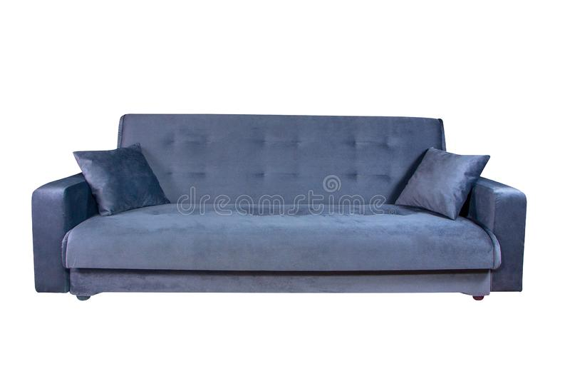 Błękitny kanapa meble odizolowywający na białym tle zdjęcia royalty free