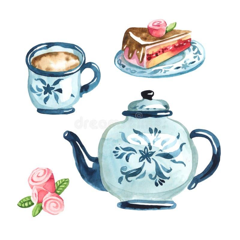 Błękitny kanapka tort na higt naczyniu, filiżanka coffe, plasterka tort a ilustracji