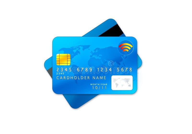 błękitny kart kredyta odosobniony biel ilustracji