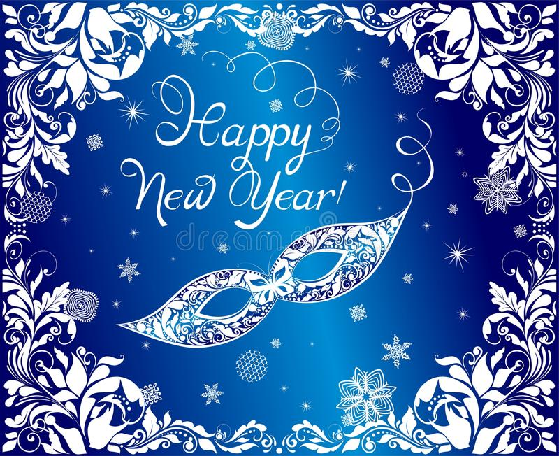 Błękitny kartka z pozdrowieniami dla nowy rok wakacji z ozdobną maską i kwiecisty rocznik graniczymy również zwrócić corel ilustr ilustracji