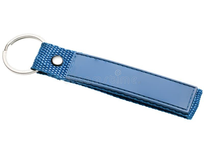 Błękitny keychain w tkaninie i imitacji skórze gotowych otrzymywać ocenę i logo zdjęcia royalty free