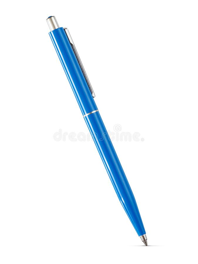 Błękitny klasyczny ballpoint pióro odizolowywający obrazy royalty free