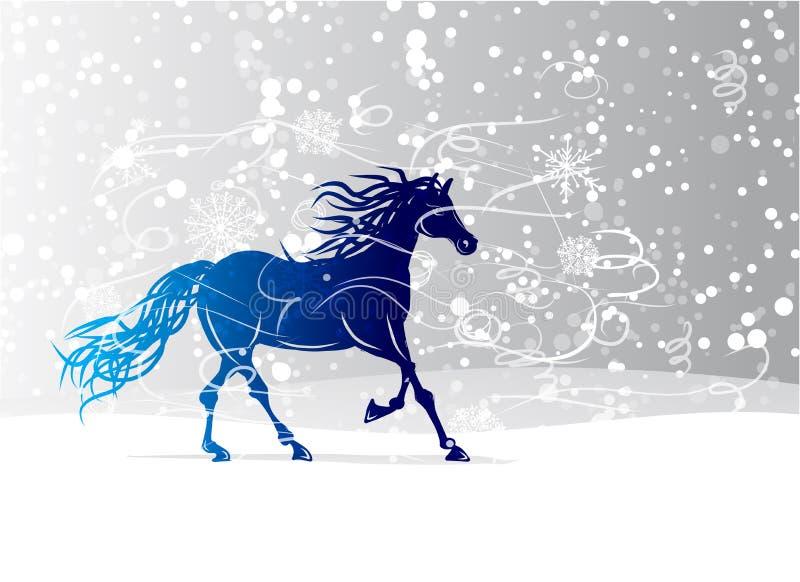 Błękitny koński nakreślenie dla twój projekta. Symbol 2014 ilustracja wektor