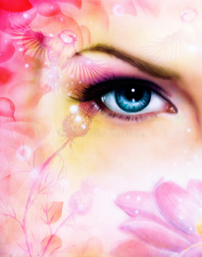 Błękitny kobiety oko promienieje w górę czarownego od kwitnienie róży lotosowego kwiatu z ptakiem na różowym abstrakcjonistycznym royalty ilustracja