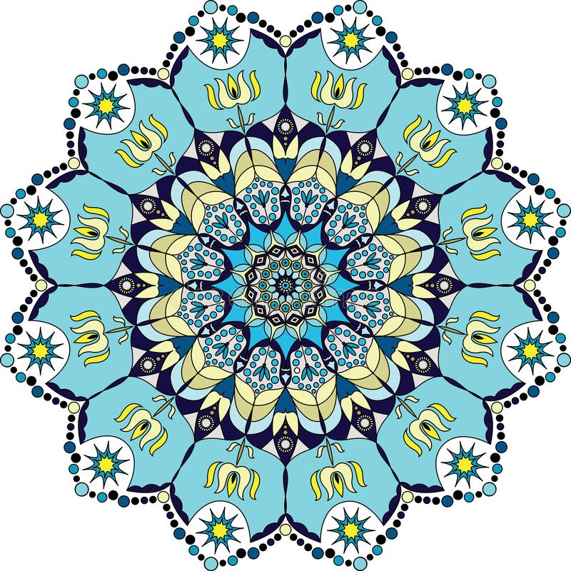Błękitny kolorowy mandala royalty ilustracja
