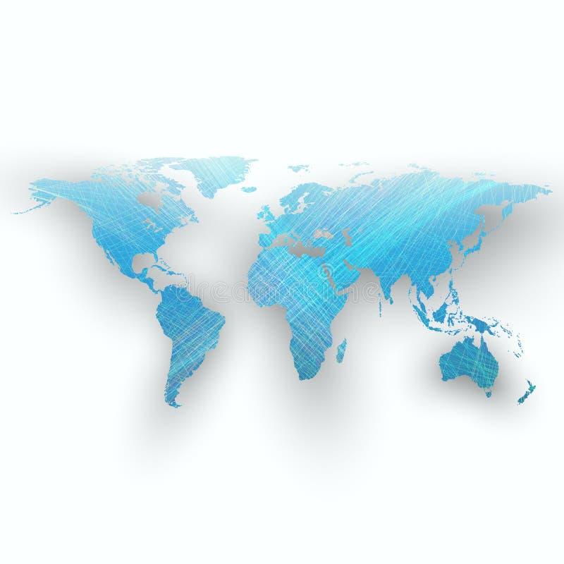 Błękitny koloru tło z światową mapą, cień, abstrakt macha, linie, krzywy Ruchu projekt Wektorowa dekoracja royalty ilustracja