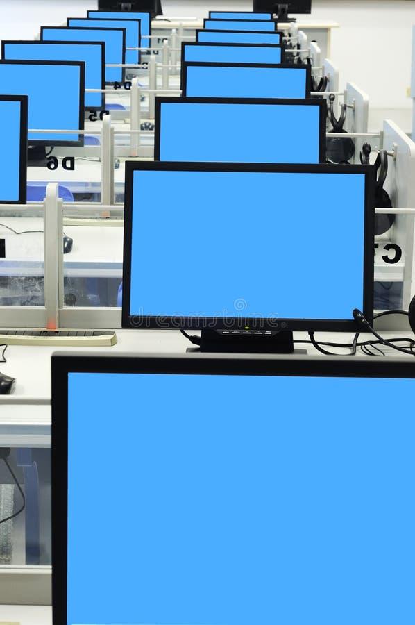 błękitny komputerowego pokoju ekran zdjęcia stock