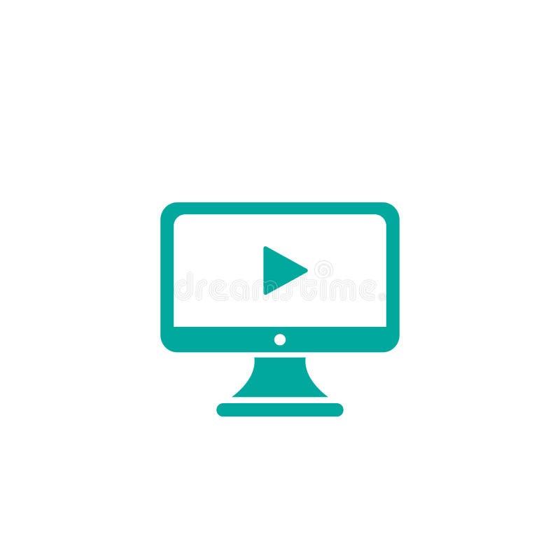 Błękitny komputerowy monitor z sztuka znakiem odizolowywającym na bielu Płaska prosta ikona wideo tutorial guzik ilustracji