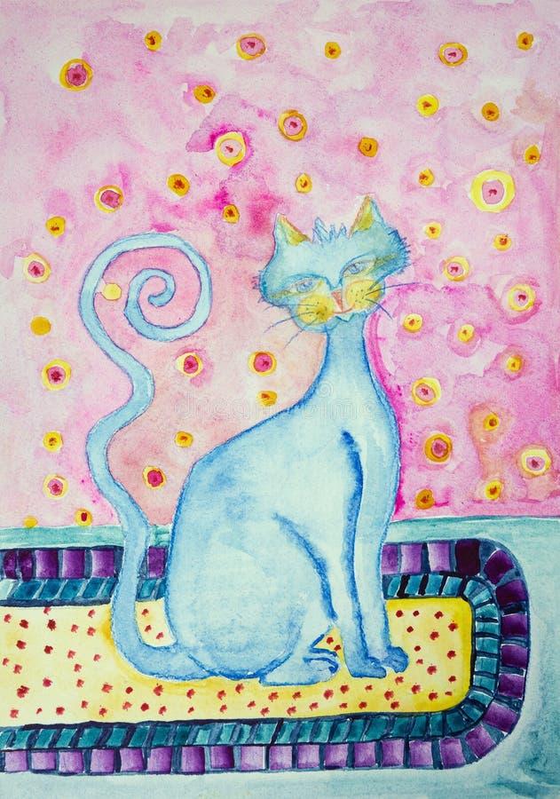 Błękitny kot z kędzierzawym ogonem na obsiadaniu na dywanie royalty ilustracja