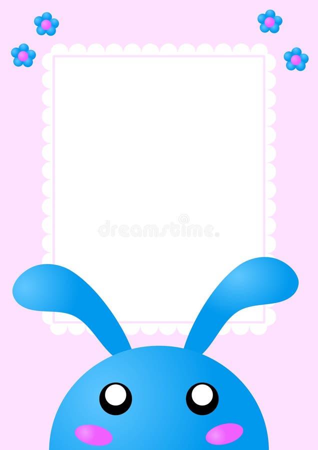 błękitny królika karty zaproszenie ilustracji