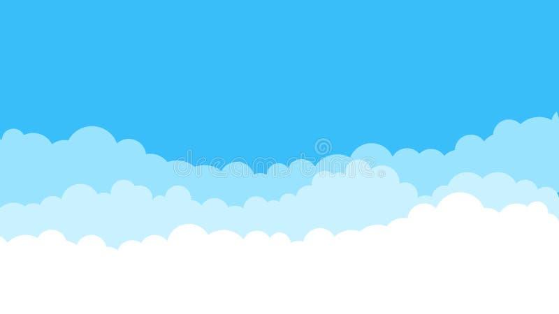 Błękitny kreskówki nieba tło Obłoczny płaski niebieskie niebo abstrakta wzór nieba chmurnego lato ilustracja wektor