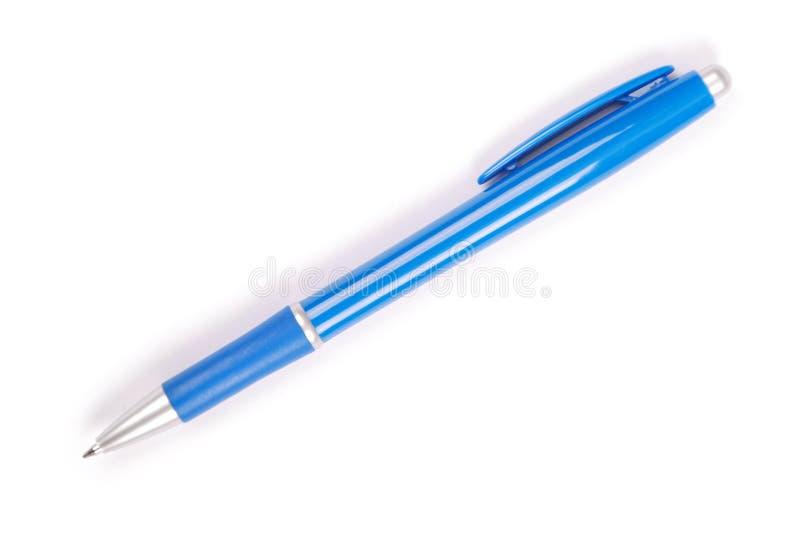 Błękitny kruszcowy ballpoint pióro obraz stock