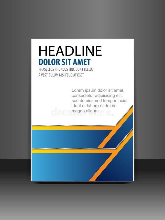 Błękitny książkowej pokrywy prezentaci abstrakcjonistyczny geometryczny biały tło, raportowy broszurki ulotki projekta szablonu w ilustracja wektor
