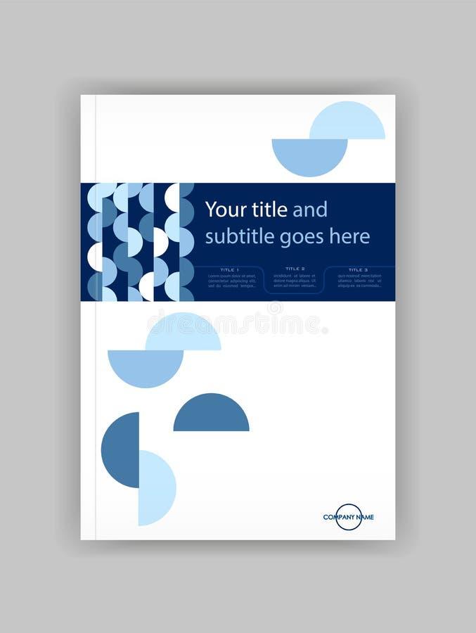 Błękitny A4 Książkowej pokrywy projekta Biznesowy szablon Dobry dla portfolio, royalty ilustracja