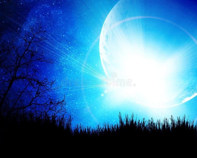 błękitny księżyc noc royalty ilustracja