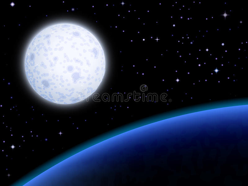 błękitny księżyc planeta ilustracja wektor