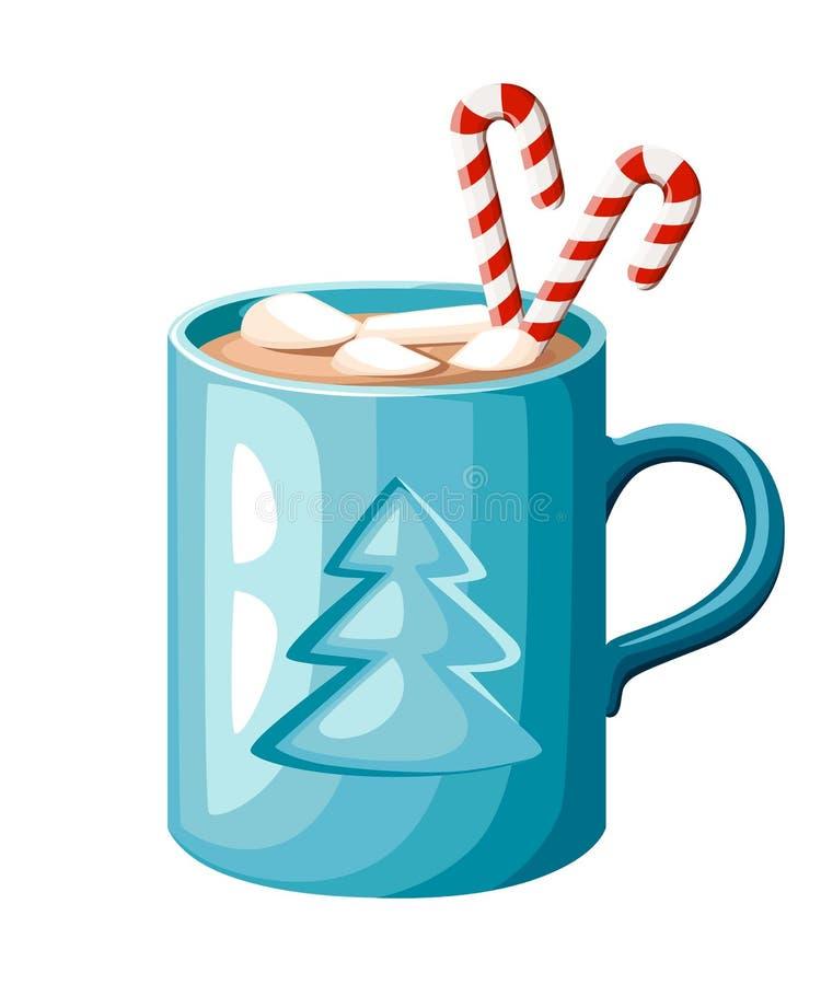 Błękitny kubek, marshmallows ilustracja odizolowywająca na białym tle i royalty ilustracja